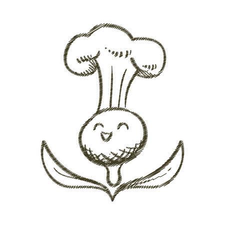 olive leaves: sketch olive leaves with hat chef vector illustration eps 10