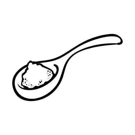 outline spoon pile salt kitchen vector illustration eps 10