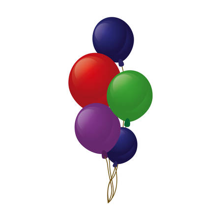 colored branch balloons party vector illustration eps 10