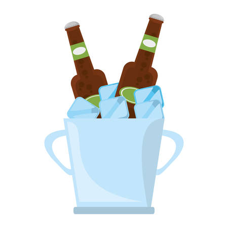 bucket two beers cool ice design vector illustration eps 10 Illustration