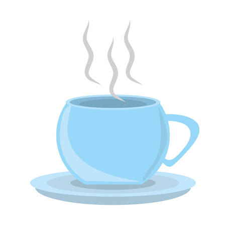 hot plate: cup coffee hot porcelan plate utensil vector illustration eps 10