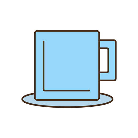 hot plate: mug beverage hot capuccino tea plate vector illustration