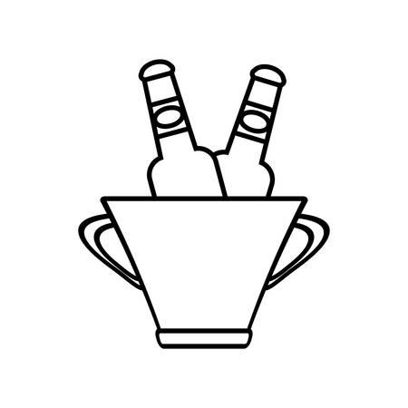 food waste: bucket beers cool ice design outline vector illustration eps 10