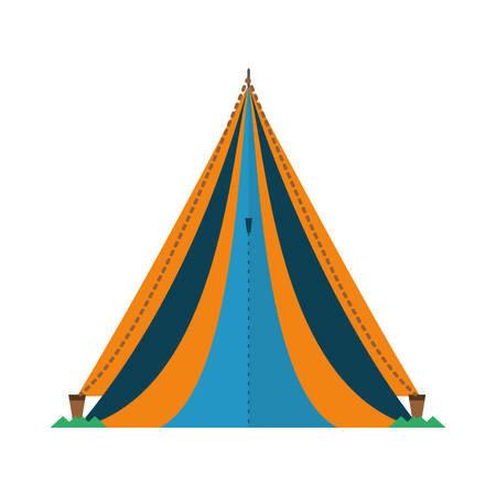 triangle tent tourism travel blue and yellow vector illustration eps 10