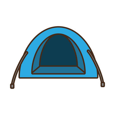 blue dome tent hiking forest camping vector illustration eps 10