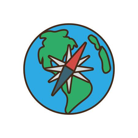 globe earth map compass traveling vector illustration eps 10 Illustration