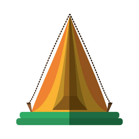 yellow triangle tent tourism travel shadow vector illustration eps 10