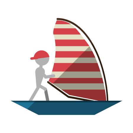 admiral: man sailing ship boat travel design shadow vector illustration eps 10 Illustration