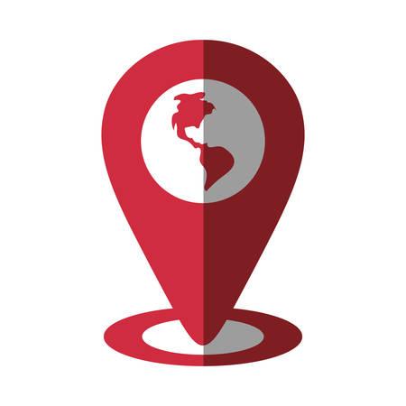 puntatore mappa globo posizione continente ombra vettoriale illustrazione eps 10
