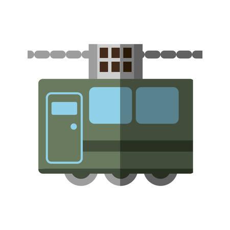 green tram cabine vacation travel shadow vector illustration eps 10 Ilustração