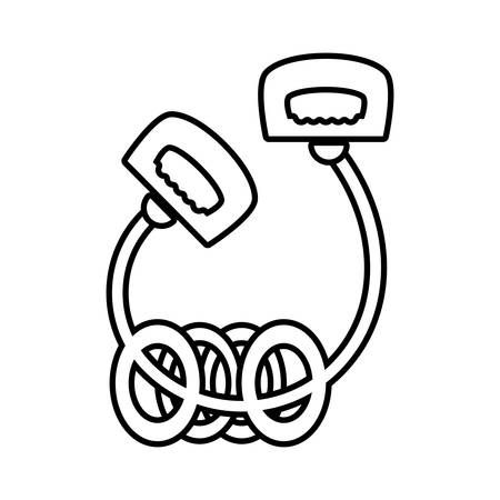 contorted: jump rope le with rings sport vector illustration eps 10