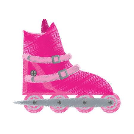 pink roller skate sport activity vector illustration eps 10