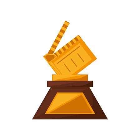 blockbuster: clapper film trophy awards golden vector illustration eps 10 Illustration