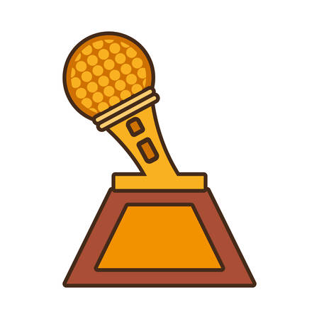 cartoon microphone trophy awards gold wooden vector illustration eps 10