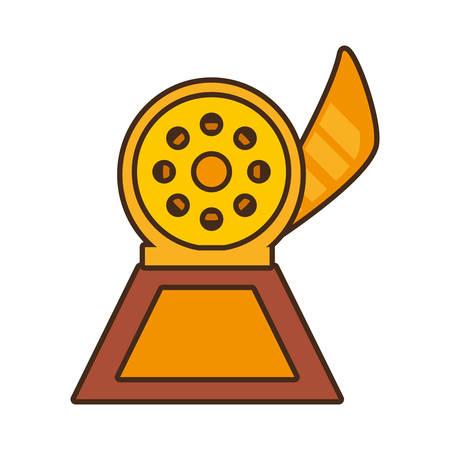 cartoon reel movie trophy awards gold wooden vector illustration eps 10 Illustration