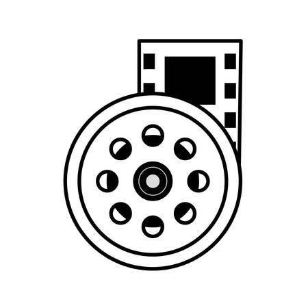 vcr: reel film movie wheel icon outline vector illustration eps 10