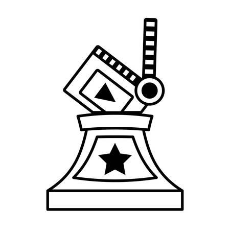 clapper movie trophy awards outline vector illustration eps 10