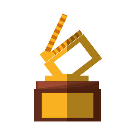 clapper movie trophy awards shadow vector illustration eps 10