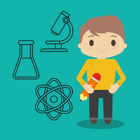 cartoon jongen potlood en chemische pictogrammen vector illustratie eps 10