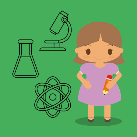 cartoon girl pencil chemistry icons green background vector illustration eps 10