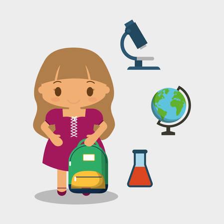 cartoon girl purple dress bag and tube test globe microscope vector illustration eps 10