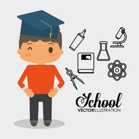 school boy equipment laboratory chemical vector illustration eps 10