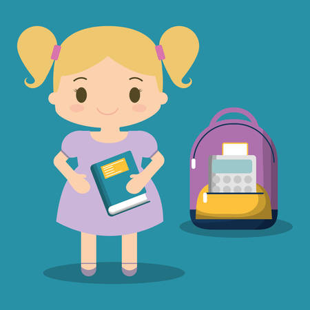 cartoon school girl purple bag book blue background vector illustration eps 10