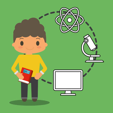 apprenticeship: cartoon school boy book pc atom laboratory green background vector illustration eps 10