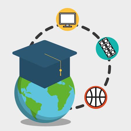 globe graduation school pc paint basketball vector illustration eps 10 Illustration