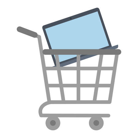 shopping cart online laptop technology vector illustration eps 10
