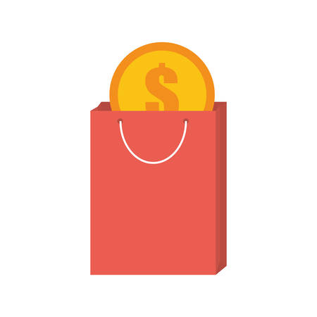 pink bag gift buy with dollar coin vector illustration eps 10
