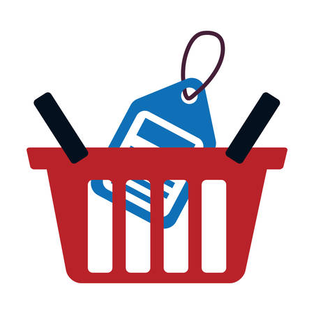 red basket buy online blue price tag vector illustration eps 10 Illustration