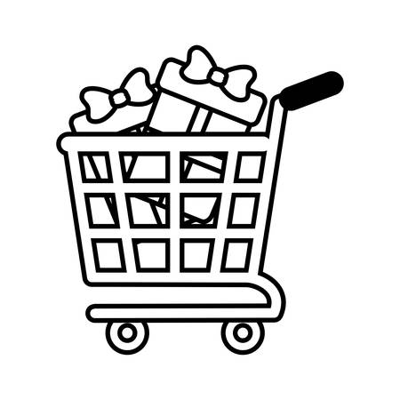 iconography: shopping cart online boxes gift presents outline vector illustration eps 10