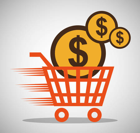 shopping online cart money currency vector illustration eps 10