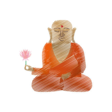 buddha colored hand draw sitting with lotus flower vector illustration eps 10 Illustration