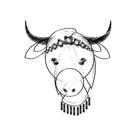 god's cow: head indian sacred cow culture vector illustration eps 10 Illustration