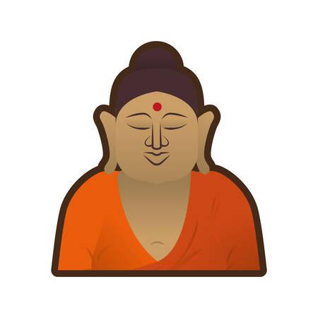 buddha head: head buddha spirituality indian vector illustration eps 10