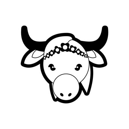 india cow: portrait sacred animal cow india life symbol vector illustration eps 10