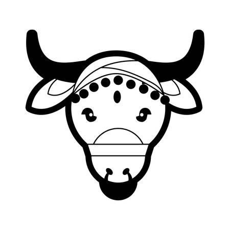 portrait sacred animal representing cow india vector illustration eps 10 Illustration