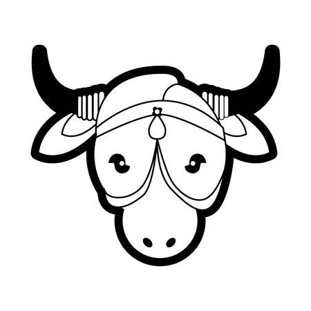 rural india: portrait sacred animal cow india ornament vector illustration eps 10