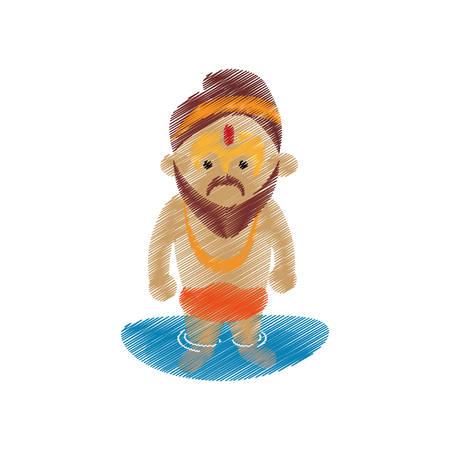 morning rituals: holy man sadhu indian in river design vector illustration eps 10 Illustration