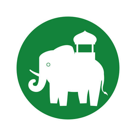 silhouette indian elephant festival green bakcground vector illustration eps 10