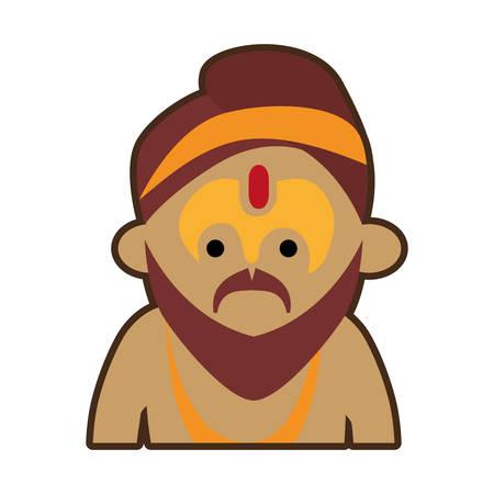 sadhu: portrait cartoon man sadhu culture india vector illustration eps 10