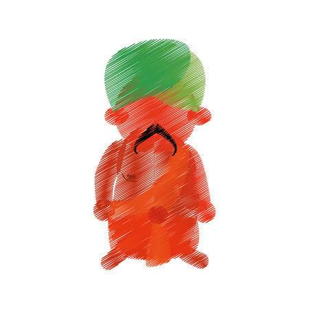 turban: colored hand drawing indian man mustache turban vector illustration eps 10