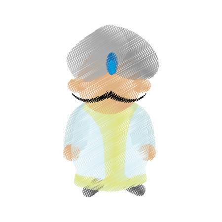 dhoti: cartoon indian man with mustache turban dhoti vector illustration eps 10 Illustration