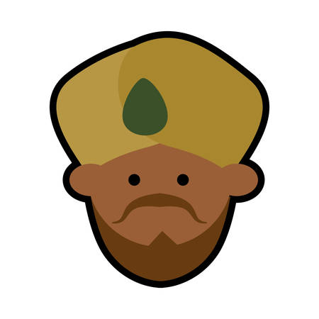 cartoon face indian man turban vector illustration eps 10 Illustration
