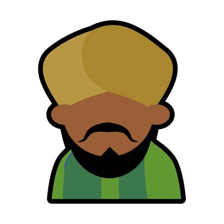 big shirt: avatar face indian man bearded mustache turban green dhoti vector illustration eps 10