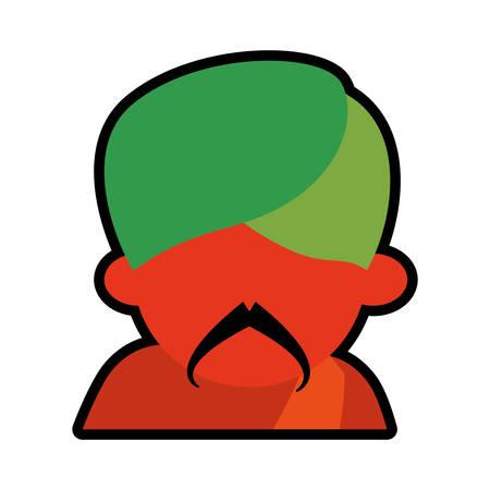 sadhu: avatar face indian man mustache green turban icon vector illustration eps 10