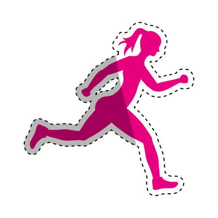 woman running fitness icon vector illustration graphic design