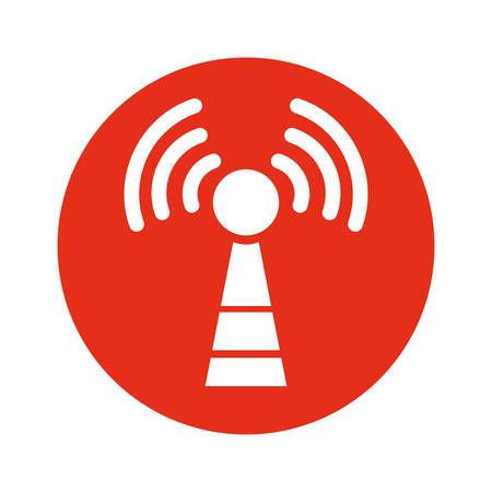 cell tower: antenna communication technology icon vector illustration graphic design